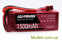 Акумулятор AGA POWER Li-Po 1500mAh 14.8V 4S 70C Softcase 28x34x90мм T-Plug
