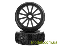 1:8 Black Rim & Tire Complete For Buggy (821001B+821002) 2P