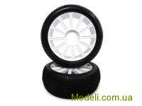 1:8 White Rim & Tire Complete For Buggy (821001W+821002) 2P