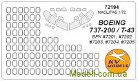 Маска для модели самолета Boeing 737-200 (Big Planes kits)