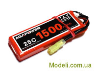 Акумулятор Aga Power Li-Po 1500mAh 7.4V 2S 25C Softcase Mini Tamiya